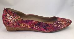 Kenneth Cole Reaction Women's Slip On Gold Point Toe Purple Pink Flats Size 6 #KennethColeReaction #BalletFlats