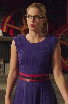 Felicity's blue textured fit and flare dress on Arrow.  Outfit Details: http://wornontv.net/38404/ #Arrow