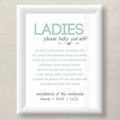 Bathroom at a Wedding.   bathroom basket sign both genders rustic by xSimplyModernDesignx, $11.50