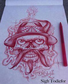 Chicano Drawings, Chicano Art, Art Drawings, Evil Skull Tattoo, Skull Tattoos, Cursive Tattoos, Behind Ear Tattoos, Graffiti, Lowrider Art