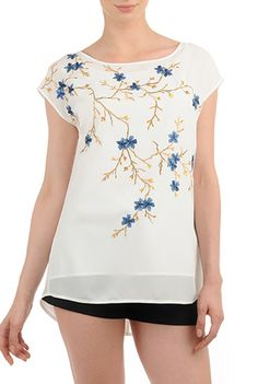 Floral Embellished Tunics, Stretch Crepe Tunic Tops , Back yoke tops, Boat neck Tops, Cap Sleeve tops, festive tunics, floral embellished tops, Hip Length Tops, Machine Wash Tops, midweight tops, off-white tops, Polyester tops, Spring Tops, stretch tops, Tops, woven crepe tops