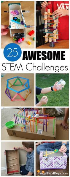 25 Awesome STEM Challenges for Kids (with Inexpensive or Recycled Materials!) Bu… 25 Awesome STEM Challenges for Kids (with Inexpensive or Recycled Materials!) Building challenges with paper, straw, craft sticks, etc. Steam Activities, Science Activities, Activities For Kids, Science Experiments, Space Activities, Science Education, Preschool Science, Physical Science, Science Classroom
