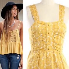 MARC BY MARC JACOBS Tank Top EXCELLENT CONDITION. Yellow mustard color.  Size 0. Modeled pic is for styling inspiration only. Actual tank is one on mannequin Marc by Marc Jacobs Tops Tank Tops