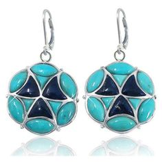 Sterling Silver Earrings with Marquise and Triangle Turquoise and Free... ($104) ❤ liked on Polyvore featuring jewelry, earrings, stone jewelry, blue earrings, turquoise stone earrings, turquoise earrings and sterling silver turquoise earrings