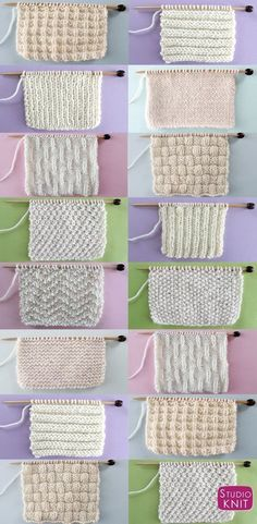Knit and Purl Stitch Patterns with Free Patterns and Video Tutorials in the Abso. Knit and Purl stitch patterns with free patterns and video tutorials in the Absolute Beginner Knitting Series by Studio Knit Source. Knitting Stiches, Baby Knitting Patterns, Free Knitting, Crochet Stitches, Crochet Patterns, Easy Patterns, Pearl Stitch Knitting, Knitting Ideas, Knitting And Crocheting