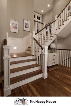 Painting Wooden Stairs, Stairs Design, Home, Foyer Decorating, House Design, Home Remodeling, New Homes, House Interior, Wooden Staircases