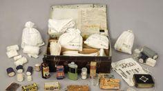A World War II medical kit, including a bottle of acriflavine near the front left corner of the case. Photo: Australian War Memorial