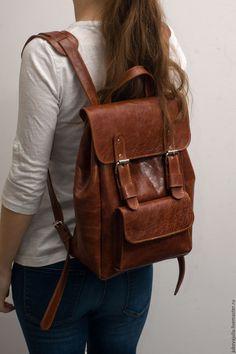 Купить Рюкзак рыжий коричневый винтажный из натуральной кожи - рыжий, рюкзак, рюкзак женский