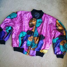 Vintage 80's  Silk Picasso Bomber Jacket