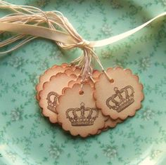 Crown Hang Tags, Vintage Inspired - Scalloped Circle - Manila Cream Chocolate Brown 12 via Etsy Chocolates, Free Printable Business Cards, Baby Girl First Birthday, World Crafts, Paper Tags, Creative Outlet, Vintage Tags, Hang Tags, Free Printables