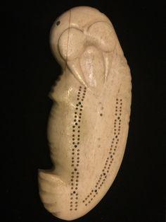 Vintage INUIT Carved Bone Walrus Cribbage Board