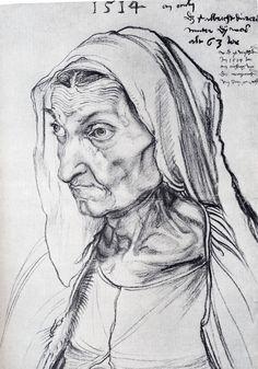 """Albrecht Durer (1471-1528) Durer's Mother Charcoal on paper 1514 303 x 421 cm (9' 11.29"""" x 13' 9¾"""") Kupferstichkabinett, ÷ffentliche Kunstsammlung (Basle, Germany)"""