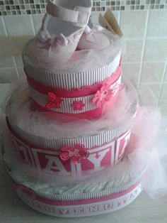 Torta pannolini battesimo, baby shower, regalo bambini, centrotavola di Dienneidee su Etsy