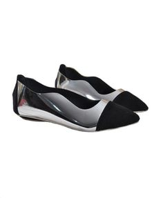 Point Flat Shoes with Patent Side and Contrast Toe Cap | Chicnova.com - $45.50