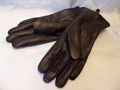 Liz Claiborne Gloves Chocolate Brown Leather Lined Winter Driving Medium | eBay