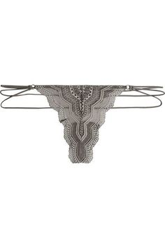 Cosabella - Ceylon Stretch-lace Thong - Anthracite -