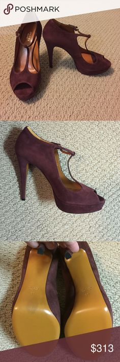 Gucci Suede Platform T-Strap Heels Brand new GUCCI suede t-strap maroon heels.  Maroon suede, leather sole. Size 38. Brand new, never worn.  My foot grew with pregnancy and they don't fit any longer.  Dust bag, extra set of heel taps and box included. Gucci Shoes Heels