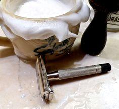 """Gillette Super Speed """"black-tip,"""" 1952 vintage; Seaforth """"Heather"""" shaving mug; vintage boar brush; Proraso """"green"""" preshave cream"""