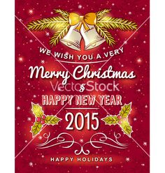 Red christmas card with decorative ornament vector by sunnyfrog on VectorStock®