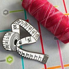 White measuring tape hard enamel pin, enamel pin set, sewing enamel pin, crafty enamel pin, pingame, sewing lapel pin, enamel lapel pin,