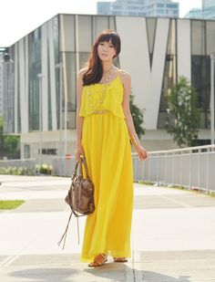 Discover this look wearing StylistaPh Dresses tagged casual, color, maxi, summer - Walking On Sunshine by camilleco styled for Comfortable, Everyday Cos Fashion, Fashion Outfits, Fashion Styles, Sweet Style, Cool Style, My Style, Camille Co, Yellow Maxi Dress, Walk On