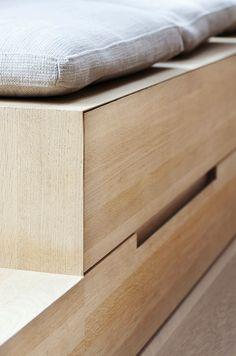 detail of oak drawer recessed handle