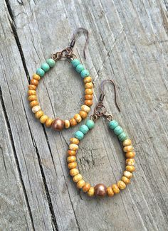 Boho hoop earrings with mustard yellow Czech glass beads, antiqued copper and blue green turquoise magnesite. Approx 1 in width and 2 in length, light weight.