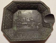 Antique 1933 Chicago Worlds Fair The Belgian Village Metal Souvenir Tray Ashtray
