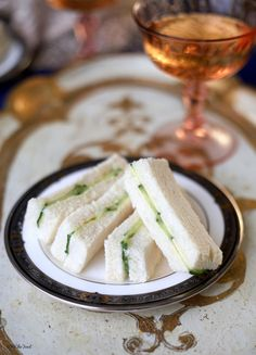 Cucumber Tea Sandwiches - But use softened cream cheese blended with fresh chives instead of butter.