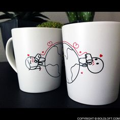 Love Has No Distance His and Her Coffee Mugs-BoldLoft offers novelty coffee mugs for couples. For those time you want to be reminded for your love, BoldLoft his and her wedding coffee mugs are the ideal and unique gifts for him, her, couples, boyfriend, girlfriend, husband, and wife plus anniversary, wedding, Valentine, and engagement.