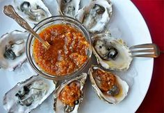 Oysters on the Half Shell with Napa Cabbage and Cucumber Kimchi *quick homemade kimchi *can make spicy or mild kimchee *easy mid-week dinner *gluten free and lenten
