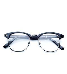 Okulary zerówki w stylu clubmaster.