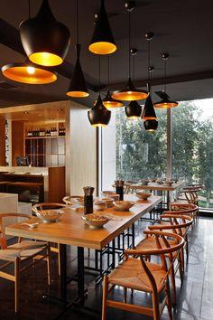 Taiwan Noodle House by Golucci International Design, Beijing featuring Tom Dixon Beat Lights http://www.nest.co.uk/search/tom-dixon-beat-light-fat-black