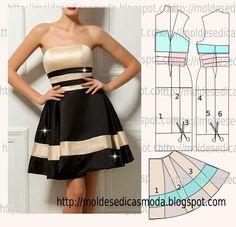 TRANSFORMAÇÃO MOLDE DE VESTIDO Desenhe o molde base, frente e costas. Desenhe o cinto do vestido nas frentes e costas. Copie para papel parte da lateral do