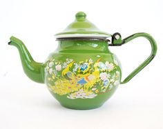 Vintage Small Green Enamel Teapot