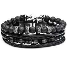 NECROPOLIS Mens Black Leather Skull Bracelet Stack with Lava Beads