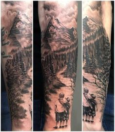 Mountain Sleeve Tattoo, Nature Tattoo Sleeve, Wolf Tattoo Sleeve, Forearm Sleeve Tattoos, Arm Band Tattoo, Body Art Tattoos, Mountain Tattoos, Full Sleeve Tattoos, Tattoo Sleeve Designs