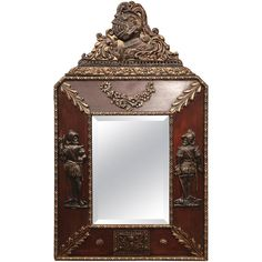 19th Century, French Renaissance Wood and Tole with Gilt Repousse Mirror | From a unique collection of antique and modern wall mirrors at https://www.1stdibs.com/furniture/mirrors/wall-mirrors/