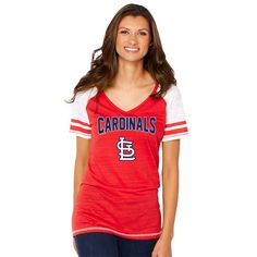 Soft as a Grape St. Louis Cardinals Women s Red Sleeve Stripe Gameday V-Neck  Tri-Blend T-Shirt 432ef1617