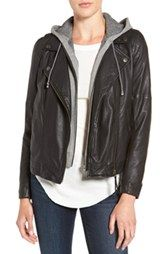 Treasure&Bond Leather Moto Jacket with Removable Hooded Vest