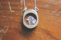 Wood translucent bird necklace bird pendant animal by iamabird, $40.00