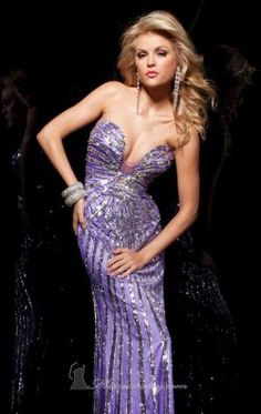 Charmeuse Sequined Gown by Tony Bowls Paris 113709