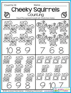 Counting worksheets for kindergarten. This count to 10 page is just a sample of what's included in my AWESOME 30 page set of November Counting Worksheets. You'll find color by number, number tracing to 20, count to 5,10,15,20 and more. Please take a moment to take a look at it. :)