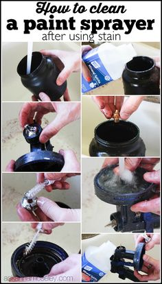 The easiest and fastest way to clean a paint sprayer after using stain - Ask Anna Staining Wood Fence, Fence Stain, Wood Fences, Garden Fences, Cedar Fence, Best Paint Sprayer, Using A Paint Sprayer, House Painting Tips, Diy Painting
