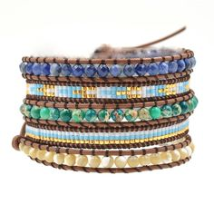 Wrap Boho Bracelet, Wrap Bracelet, Leather Wrap Bracelet, Beaded Wrap Bracelet, Travel Bracelet, For Him Bracelet, For Her Bracelet by RadiantLotusJewelry on Etsy Cheap Charm Bracelets, Beaded Wrap Bracelets, Bangle Bracelets, Bangles, Jewelry Accessories, Unique Jewelry, Boho, Leather, Etsy