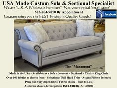 """The """"Maramont"""". Available as a Sofa, Loveseat, Chair, King Chair or Sectional. Over 800 fabric options. Reclining Sectional, Loveseat Sofa, Upholstered Sofa, Sectional Sofa, Sofas, Home Furnishing Accessories, Home Furnishings, Furniture Making, Home Furniture"""