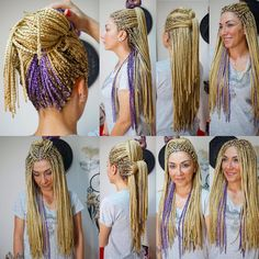 All styles of box braids to sublimate her hair afro On long box braids, everything is allowed! For fans of all kinds of buns, Afro braids in XXL bun bun work as well as the low glamorous bun Zoe Kravitz. Small Box Braids, Short Box Braids, Blonde Box Braids, Afro Braids, Ghana Braids, African Braids, Box Braids Hairstyles, Sporty Hairstyles, White Girl Braids
