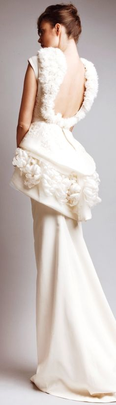 Ashi Studio white gown with a scooping low backline and demi bustle over a slim skirt with demi train - wonedrful, superb,