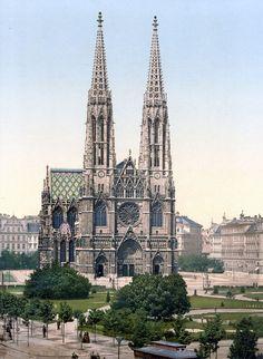 Wien Votivkirche um 1900 - Historia architektury – Wikipedia, wolna encyklopedia