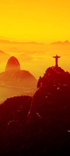 Christ the Redeemer at Sunset Rio de Janeiro Brazil